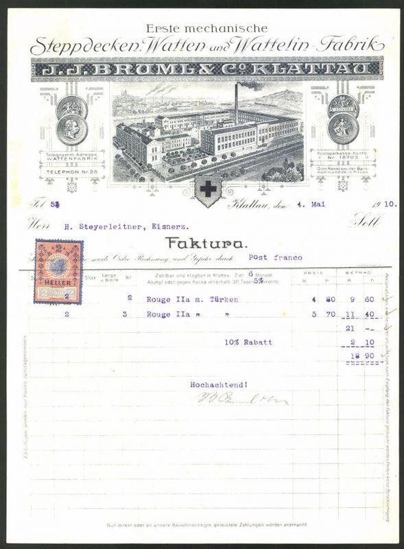 Rechnung Klattau 1910, Stepdecken & Wattelin-Fabrik J.J. Bruml & Co., Fabrik & Medaillen
