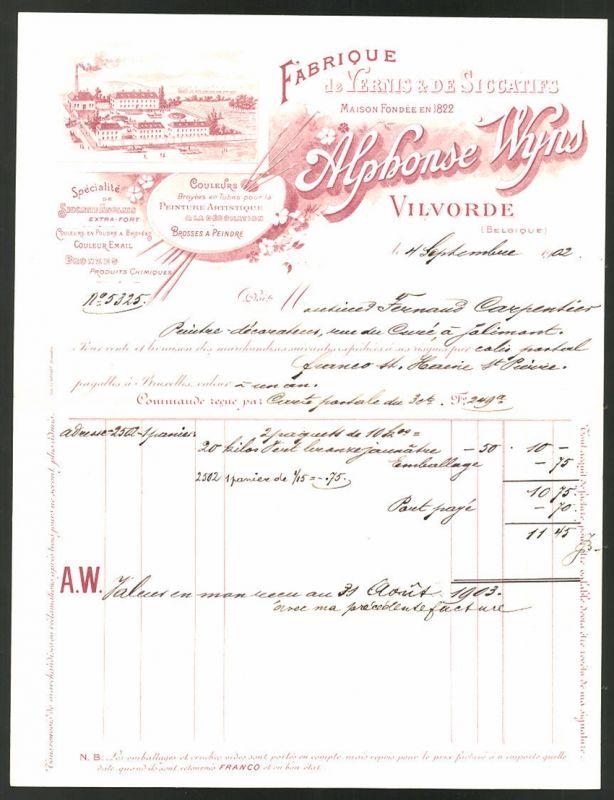 Rechnung Vilvorde 1902, Fabrique de Vernis & de Siccatifs, Fabrik und Mischpalette mit Pinseln