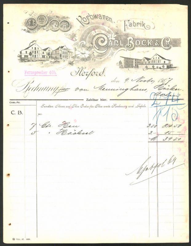 Rechnung Herford 1907, Korbwaren-Fabrik Carl Bock & Co., Fabrikanlagen & Medaillen
