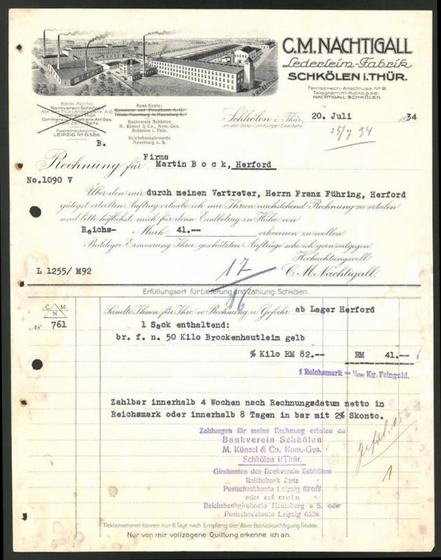 rechnung schk len th ringen 1934 lederleim fabrik c m nachtigall fabrikgeb ude nr 8120362. Black Bedroom Furniture Sets. Home Design Ideas