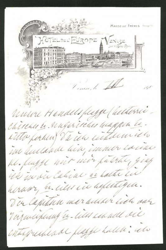 Briefkopf Venedig, Hotel Del' Europe Venise, Hotelgebäude am Canal Grande