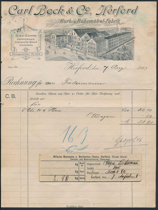 Rechnung Herford 1909, Korb - und Rohrmöbel-Fabrik Carl Bock & Co., Partie am Fabrikgebäude