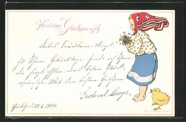 Künstler-AK Gertrud Caspari: Mädchen mit Kopfbedeckung hält einen Blumenstrauss in der Hand