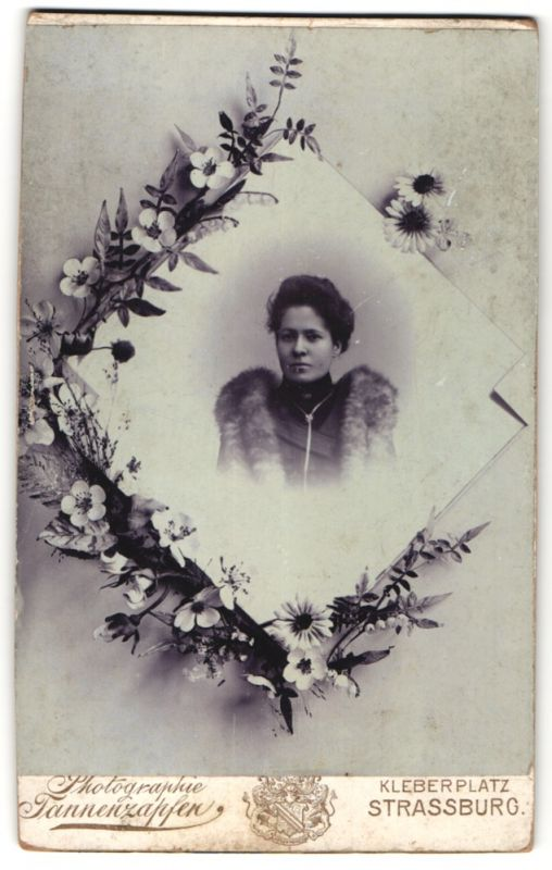 Fotografie Tannenzapfen, Strassburg, Portrait Dame mit Pelzschal, Montage mit Blumen