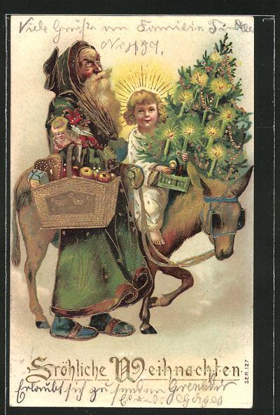 Präge-AK Weihnachtsgruss, Weihnachtsmann und Christkind auf einem Esel