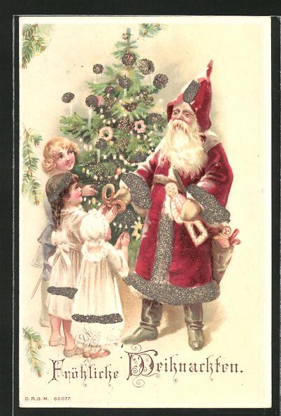 Glitzer-Perl-AK Fröhliche Weihnachten, Weihnachtsmann im Gewand mit Glitzer-Perlen