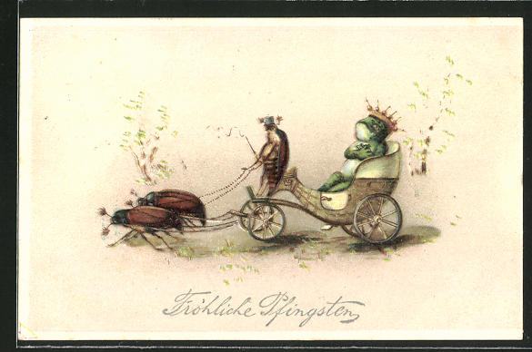 Künstler-AK Fröhliche Pfingsten, Frosch in einer Kutsche mit vorgespannten Maikäfern, vermenschlichte Tiere