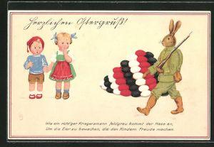 Künstler-AK Lia Döring: Osterhase als Soldat in Uniform bewacht Eier