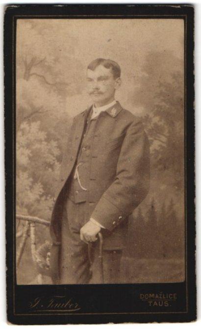Fotografie J. Tauber, Domazlizích in Taus, Portrait junger Mann mit Kragenabzeichen