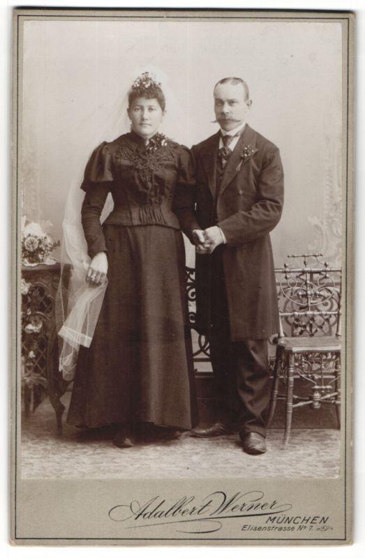 Fotografie Adalbert Werner, München, Portrait Braut und Bräutigam, Hochzeit
