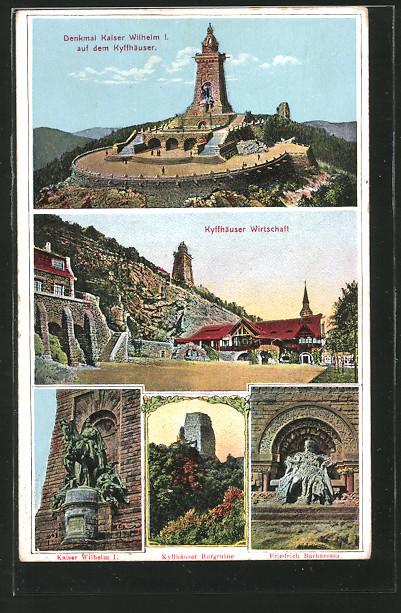 AK Kyffhäuser, Denkmal Kaiser Wilhelm I., Kyffhäuser Wirtschaft, Kaiser Wilh. I., Burgruine, Friedrich Barbarossa