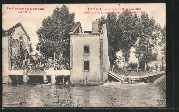 AK Lunéville, Le Pont du Moulin de plâtre