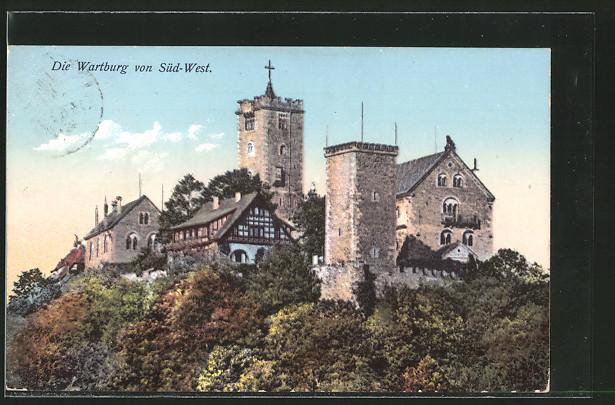 AK Eisenach, Wartburg, Ansicht von Süd-West
