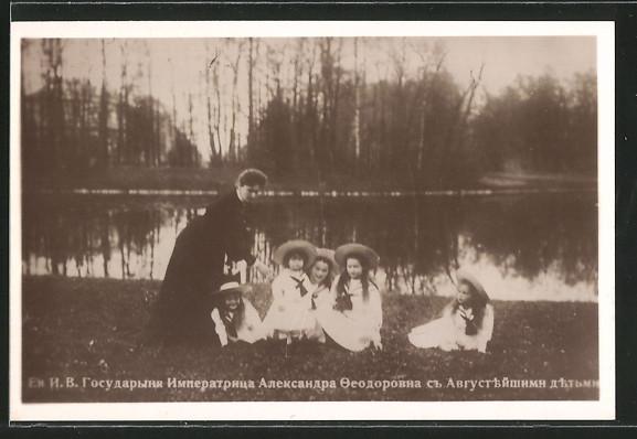 AK Zarin Alexandra Fjodorowna von Russland mit den Kindern in der Sommerfrische