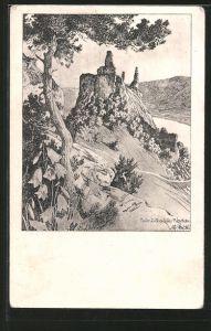Künstler-AK Ulf Seidl: Dürnstein, Blick auf die Ruine