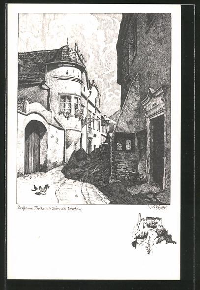 Künstler-AK Ulf Seidl: Dürnstein, Strasse und Rathaus