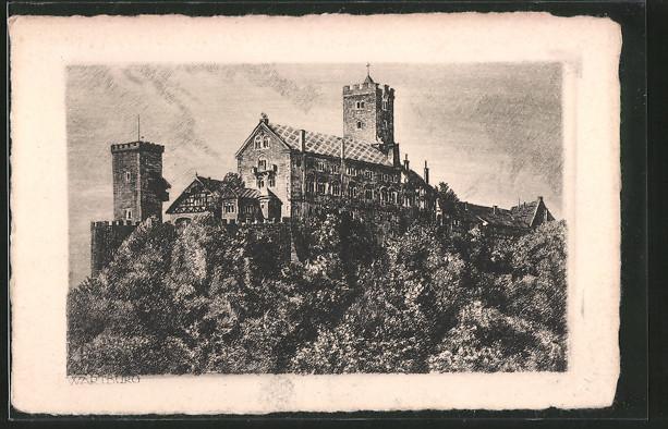 AK Eisenach, Blick auf Wartburg