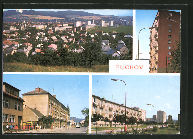 AK Puchov, Hochhaus, Gebäudeansichten, Ortsansicht