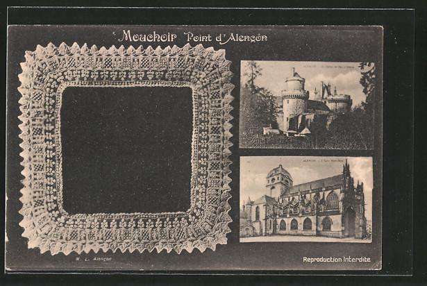 AK Alencon, Le château, l'eglise Notre-Dame, geklöppelte Spitze