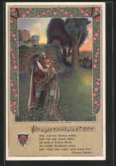 Künstler-AK T.Welzl: Ritter mit seiner Liebsten, Lied von Johanna Rinkel