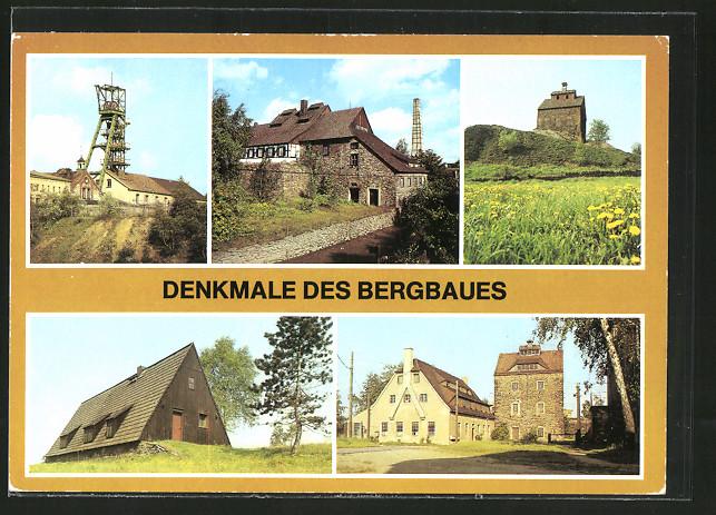 AK Halsbrücke, Wassergöpeltreibehaus der Grube Oberes Neues Geschrei, Kaue am 8. Lichtloch, Denkmale des Bergbaues