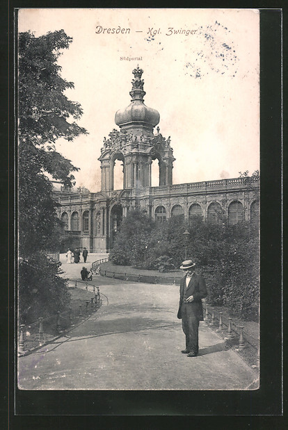 AK Dresden, Blick auf das Südportal des Zwingers