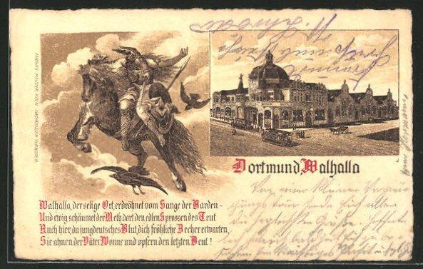 Lithographie Dortmund, Gasthaus Walhalla mit Strassenbahn