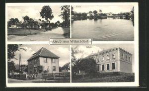 AK Wilschdorf, Ortspartie mit Häusern, Teich, Kolonialwaren, Schule