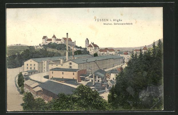 AK Füssen, Mechan. Seilerwarenfabrik vom Berg aus gesehen