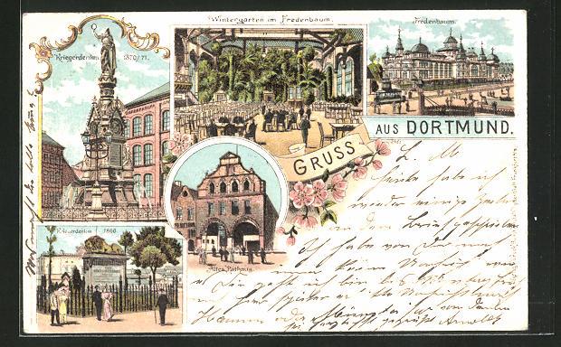 Lithographie Dortmund, Kriegerdenkmal, Fredenbaum Aussenansicht und Wintergarten, Altes Rathaus
