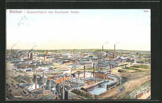 AK Bochum, Gussstahlfabrik aus der Vogleschau