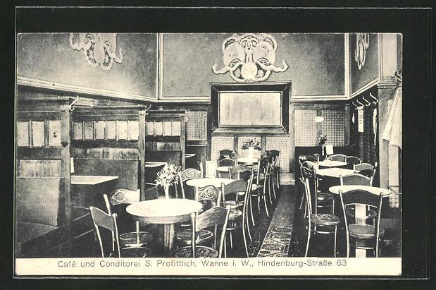AK Wanne i. W., Cafe-Conditorei S. Profittlich, Innenansicht, Hindenburgstrasse 63