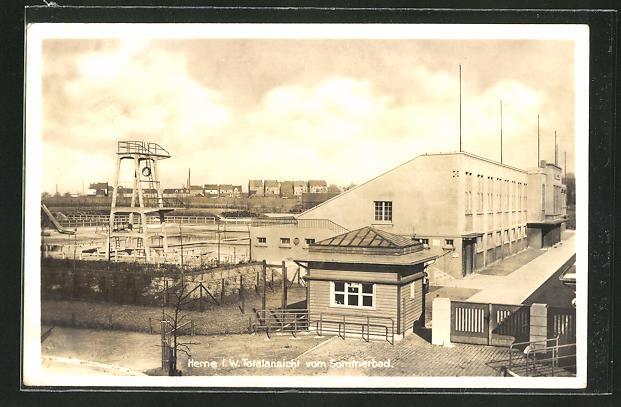 AK Herne i. W., Blick auf das Sommerbad mit Sprungturm