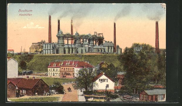 AK Bochum, Ortsansicht mit Hochöfen