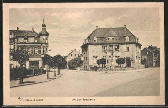 AK Lünen a. d. Lippe, Strassenkreuzung an der Sparkasse