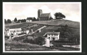 AK Göhren, Partie mit Kirche und Hotel Villa Christiana und Burg Jagow