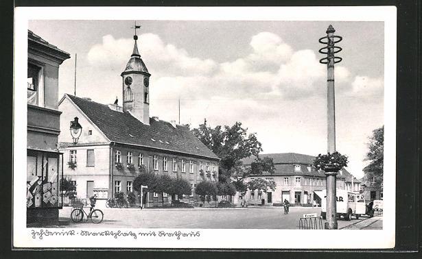 AK Zehdenick, Marktplatz mit Rathaus