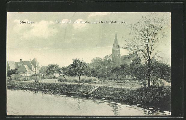 AK Storkow, Partie am Kanal mit Kirche und Elektrizitätswerk