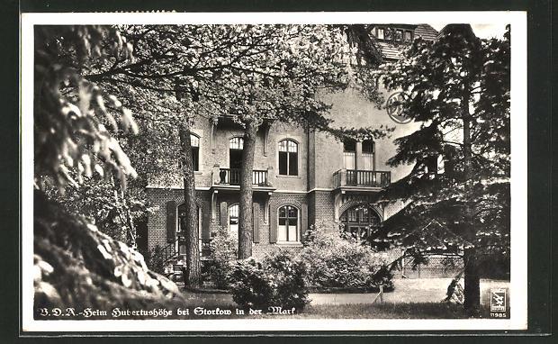 AK Storkow / Mark, V.D.A.-Heim Hubertushöhe mit Garten