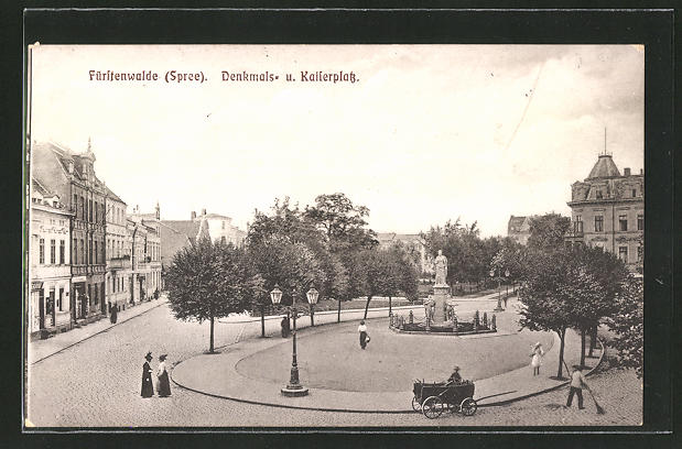 AK Fürstenwalde / Spree, Denkmals- & Kaiserplatz
