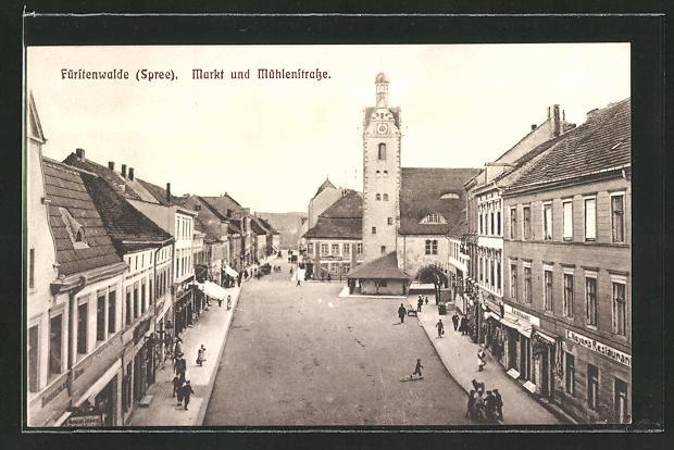 AK Fürstenwalde / Spree, Markt mit Mühlenstrasse