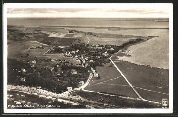AK Kloster, Gesamtansicht aus der Vogelschau, Fliegeraufnahme