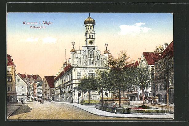 AK Kempten i. Allgäu, Strassenpartie am Rathausplatz