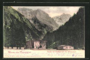 AK Oberstdorf, Partie im Oythal mit der Wirtschaft
