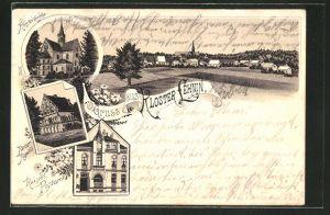 Vorläufer-Lithographie Kloster Lehnin, 1894, Kaiserl. Postamt, Kirche, Kaiser-Kapelle
