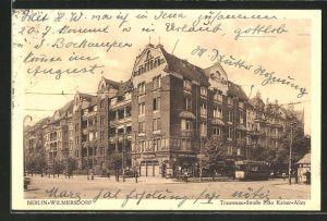 AK Berlin-Wilmersdorf, Trautenau-Strasse Ecke Kaiser-Allee mit Strassenbahn