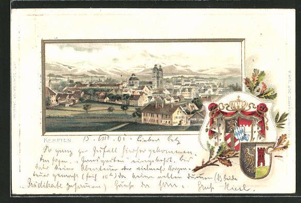 Passepartout-Lithographie Kempten, Teilansicht der Stadt, Stadt-Wappen