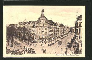 AK Berlin-Wilmersdorf, Spichern-Strasse Ecke Kaiser-Allee mit Strassenbahn