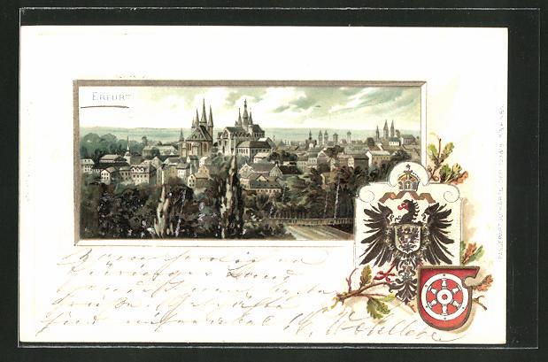 Passepartout-Lithographie Erfurt, Gesamtansicht und Wappen