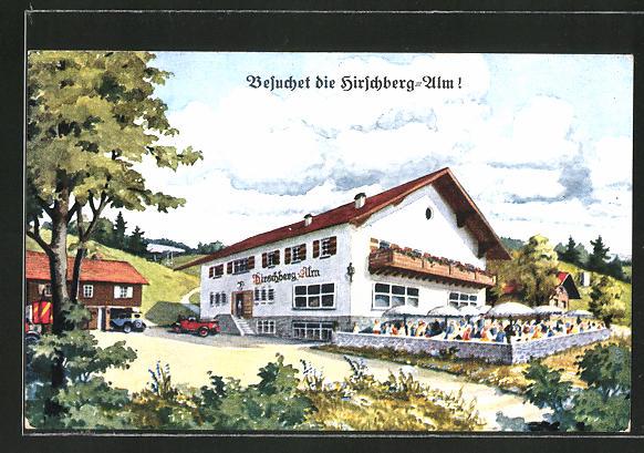Künstler-AK Pähl, Blick zum Gasthaus Hirschberg-Alm mit Terrasse